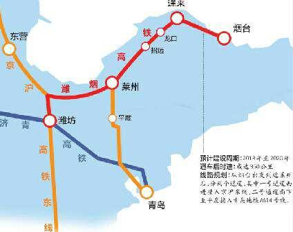 在规划线路方面,从烟台出发,潍烟高铁将依次经过烟台主城区,机场